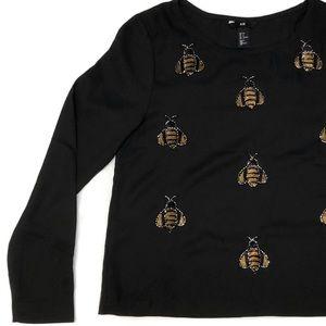 H&M bumblebee bead sequin shirt black size 6